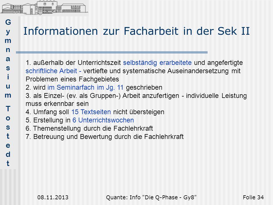 Informationen zur Facharbeit in der Sek II