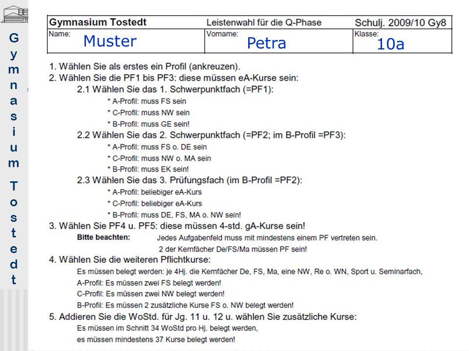 Formular 1. Wahl Q-Phase (oberer Teil)
