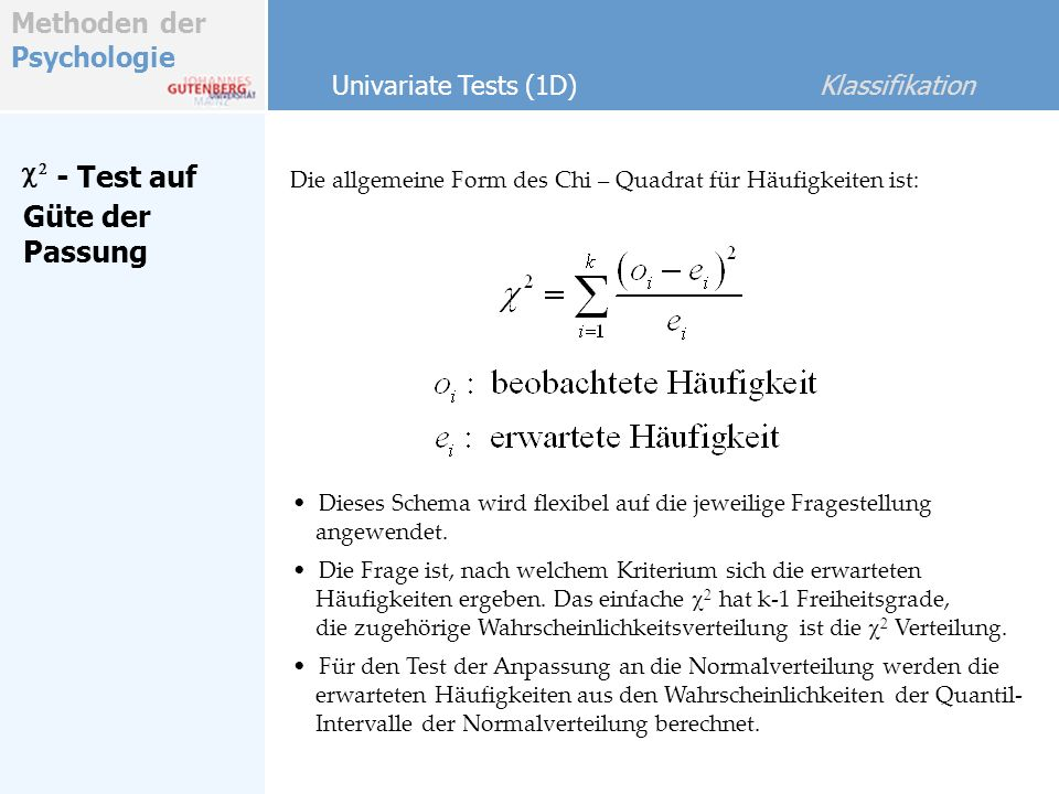 c2 - Test auf Güte der Passung Univariate Tests (1D) Klassifikation