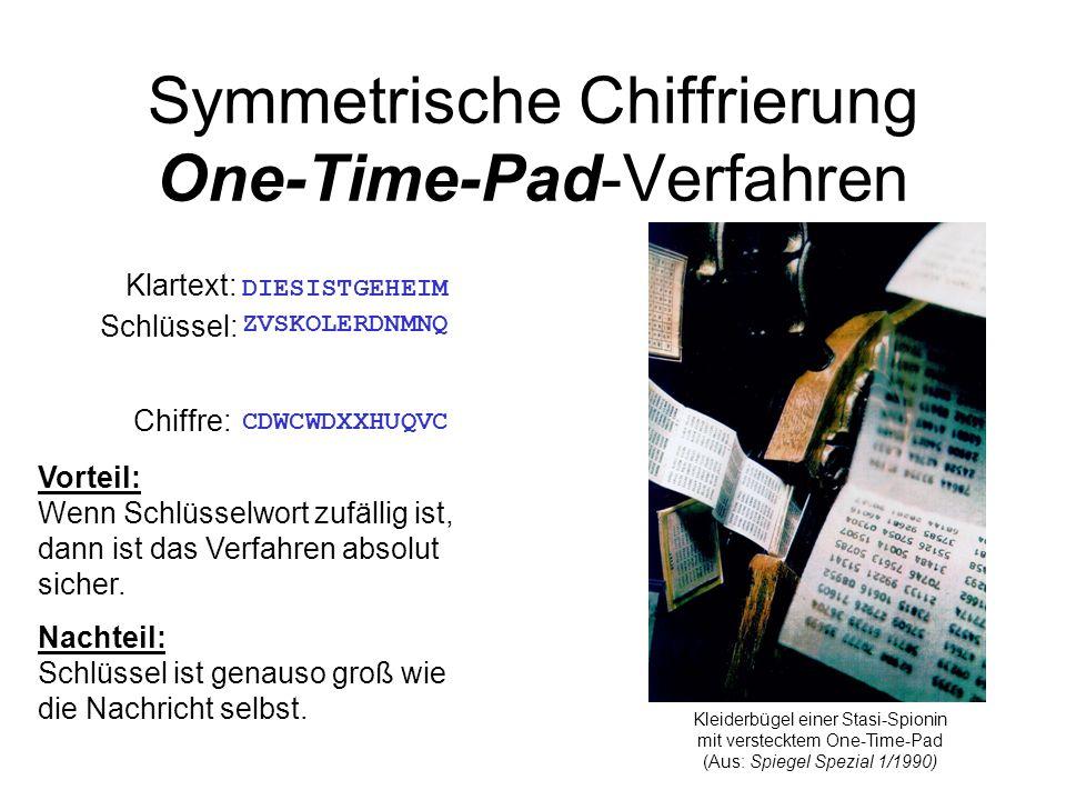 Symmetrische Chiffrierung One-Time-Pad-Verfahren