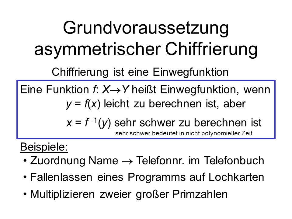 Grundvoraussetzung asymmetrischer Chiffrierung