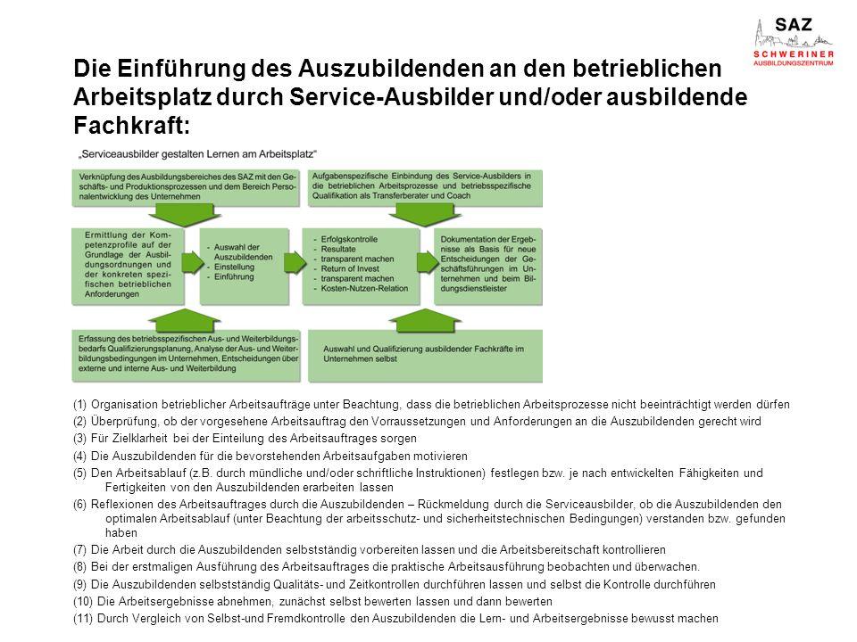 Die Einführung des Auszubildenden an den betrieblichen Arbeitsplatz durch Service-Ausbilder und/oder ausbildende Fachkraft: