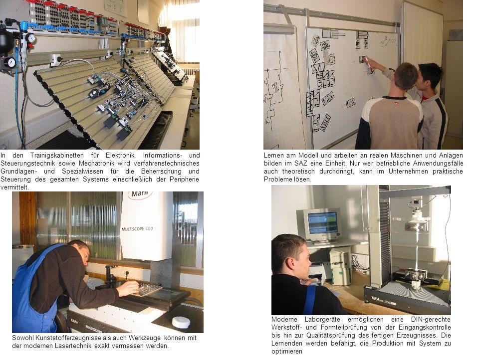 In den Trainigskabinetten für Elektronik, Informations- und Steuerungstechnik sowie Mechatronik wird verfahrenstechnisches Grundlagen- und Spezialwissen für die Beherrschung und Steuerung des gesamten Systems einschließlich der Peripherie vermittelt.