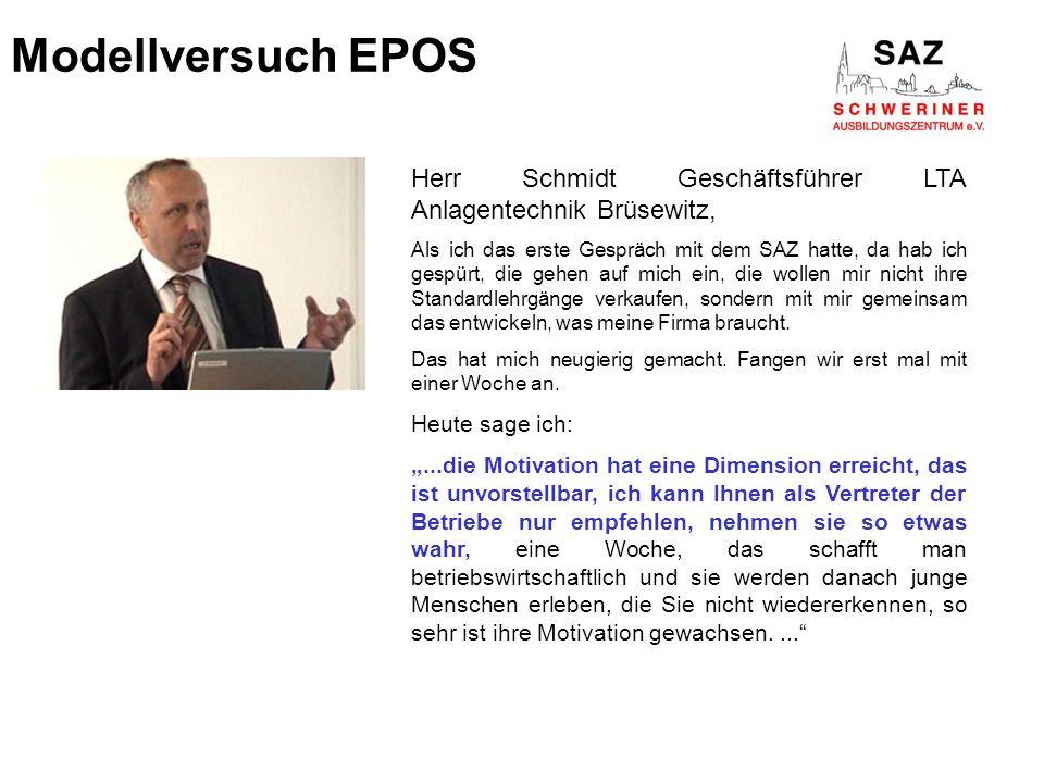 Modellversuch EPOS Herr Schmidt Geschäftsführer LTA Anlagentechnik Brüsewitz,