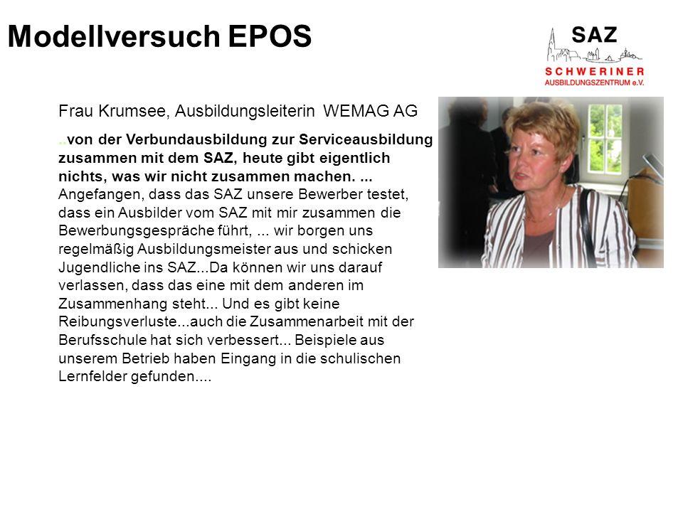 Modellversuch EPOS Frau Krumsee, Ausbildungsleiterin WEMAG AG