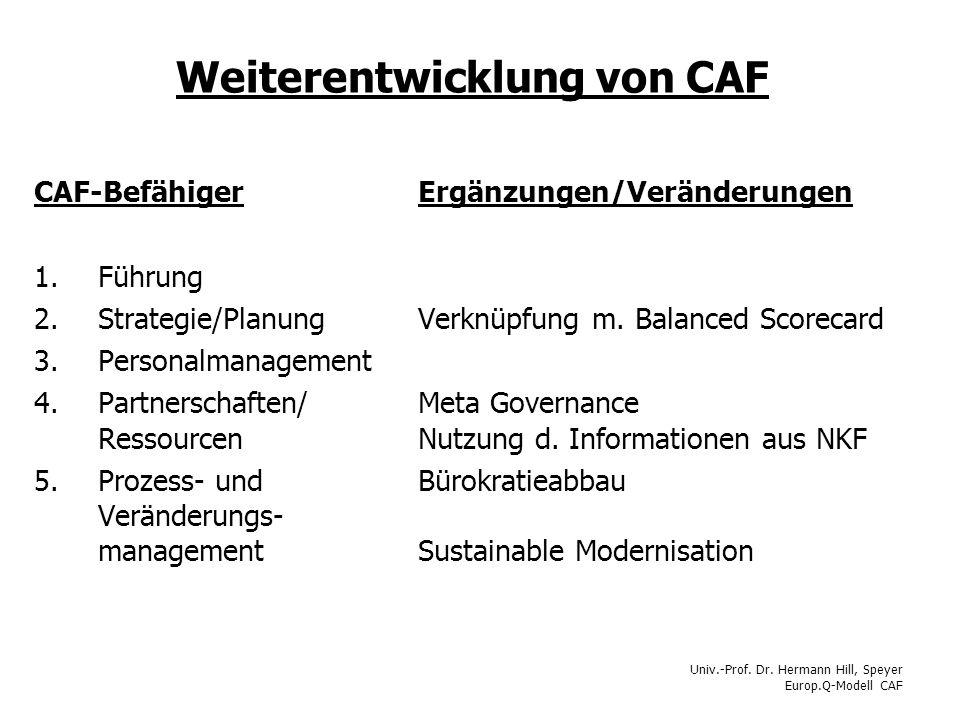 Weiterentwicklung von CAF