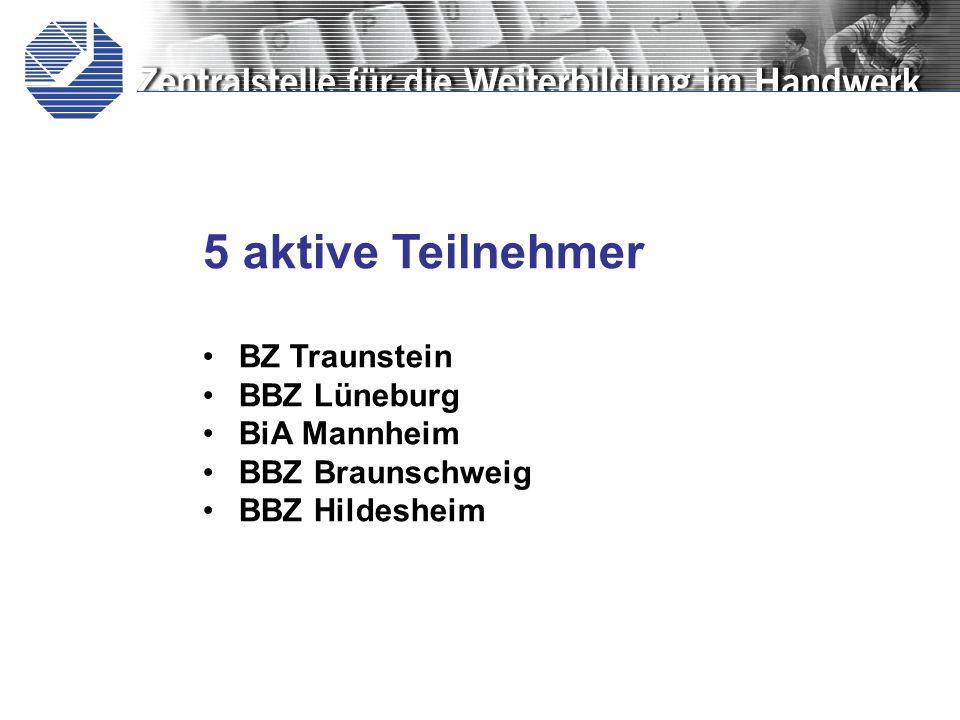 5 aktive Teilnehmer BZ Traunstein BBZ Lüneburg BiA Mannheim