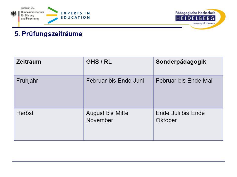 5. Prüfungszeiträume Zeitraum GHS / RL Sonderpädagogik Frühjahr