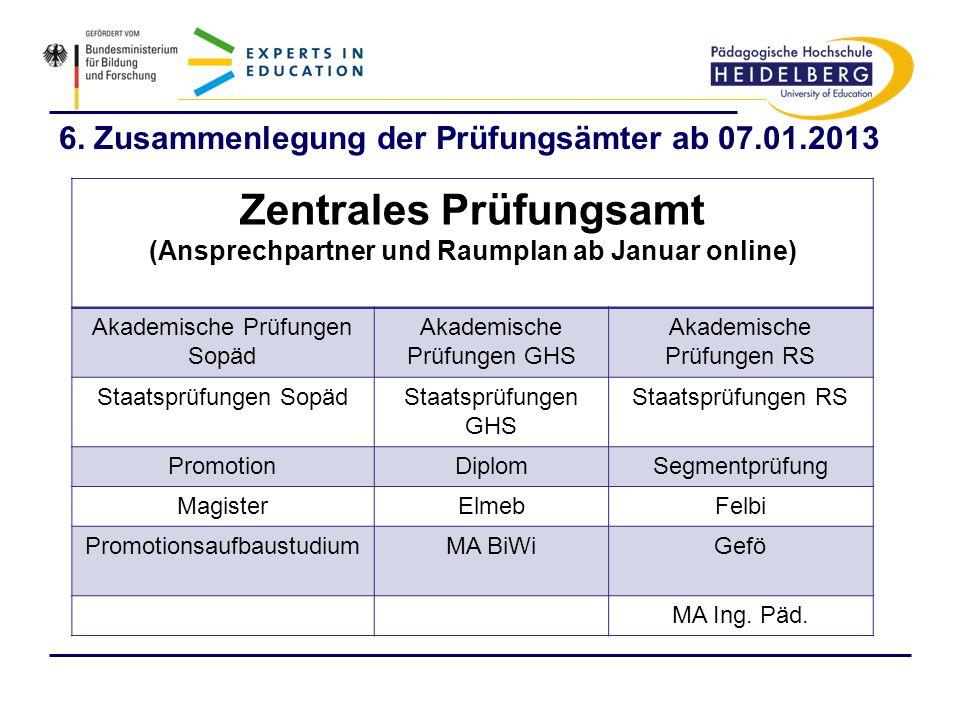 6. Zusammenlegung der Prüfungsämter ab 07.01.2013