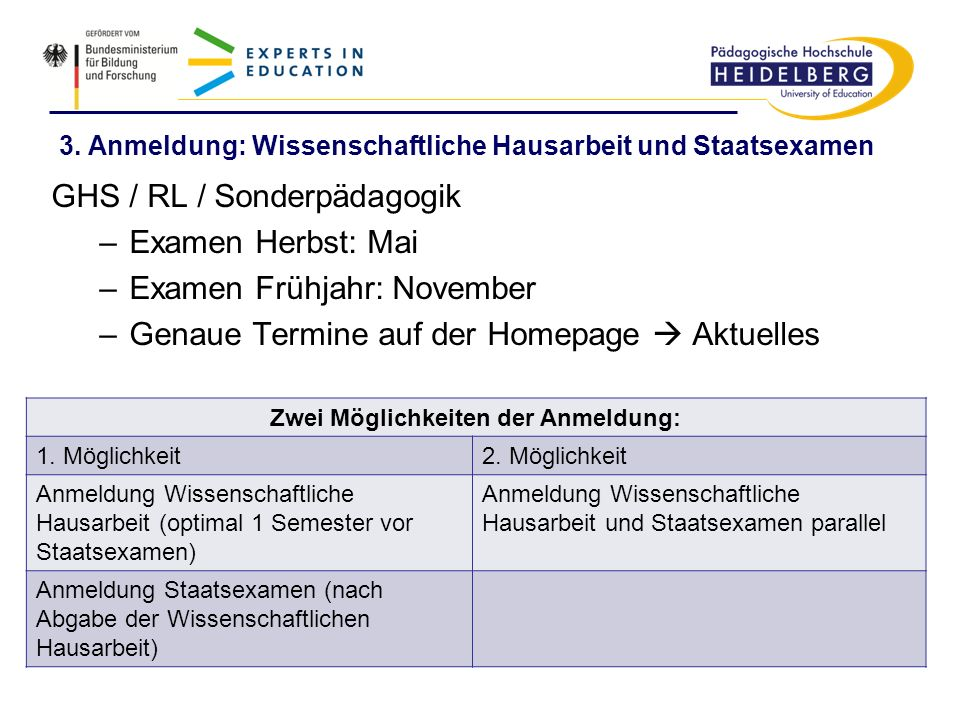 3. Anmeldung: Wissenschaftliche Hausarbeit und Staatsexamen