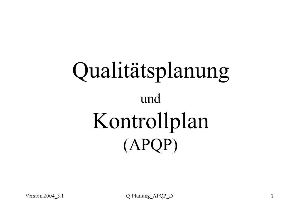 Qualitätsplanung und Kontrollplan (APQP)