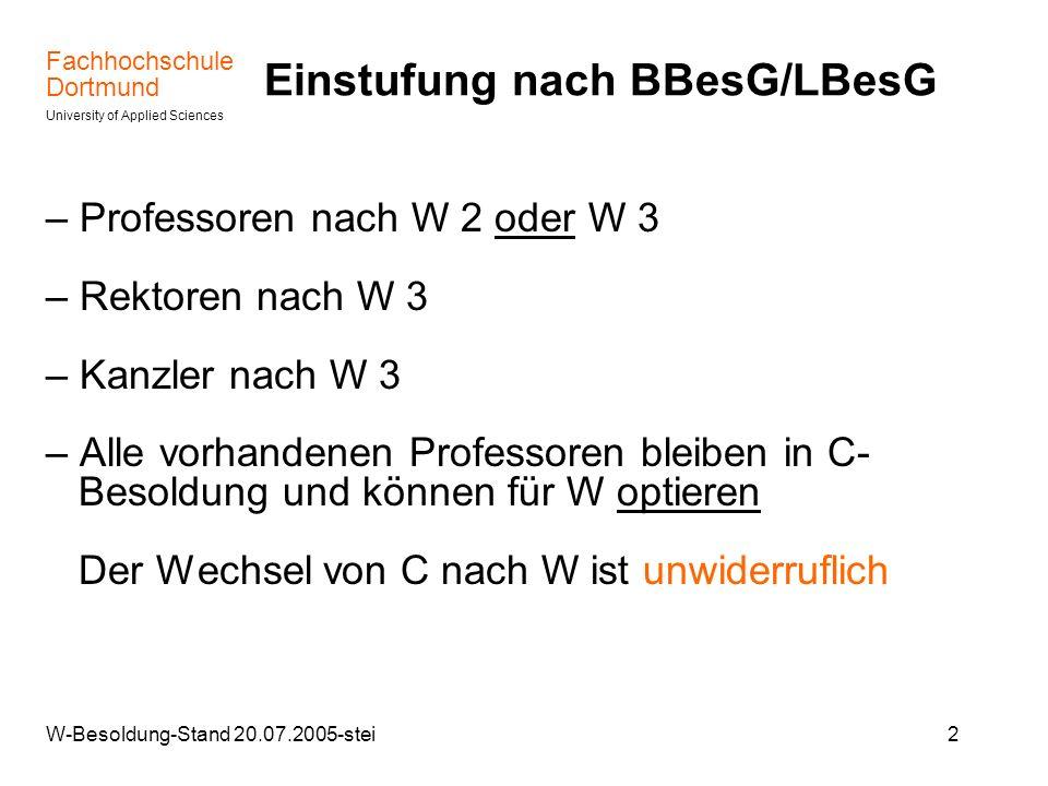 Einstufung nach BBesG/LBesG