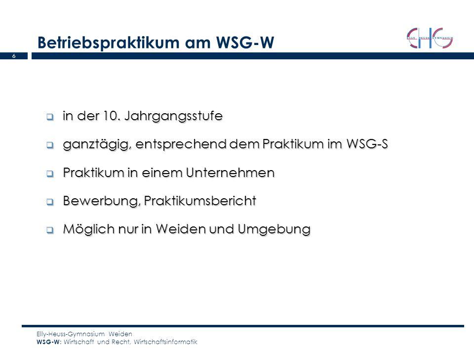 Betriebspraktikum am WSG-W