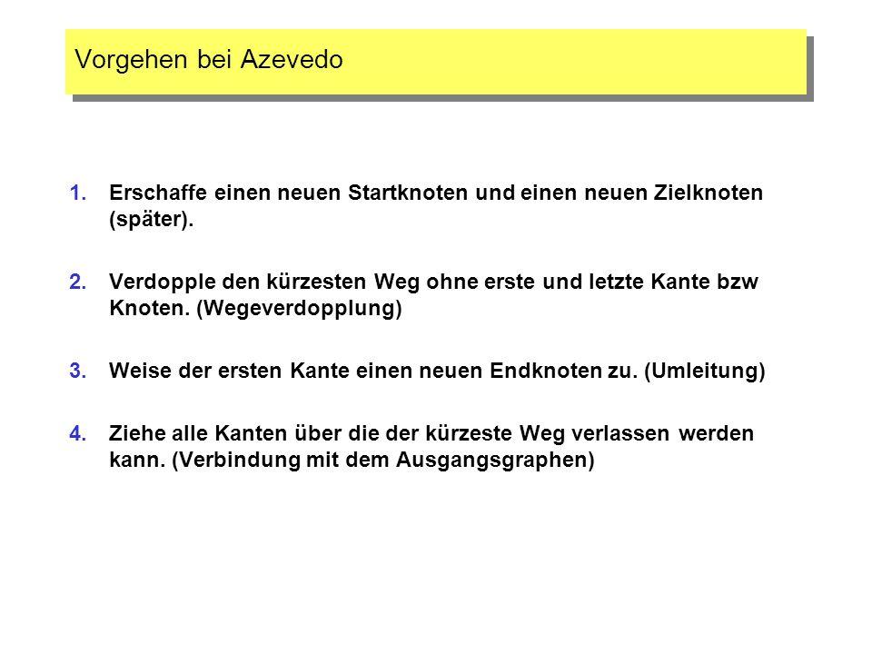 Vorgehen bei AzevedoErschaffe einen neuen Startknoten und einen neuen Zielknoten (später).