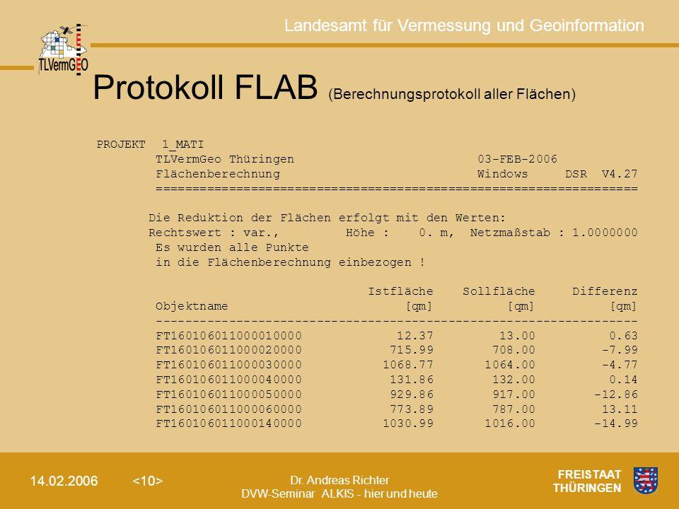 Protokoll FLAB (Berechnungsprotokoll aller Flächen)
