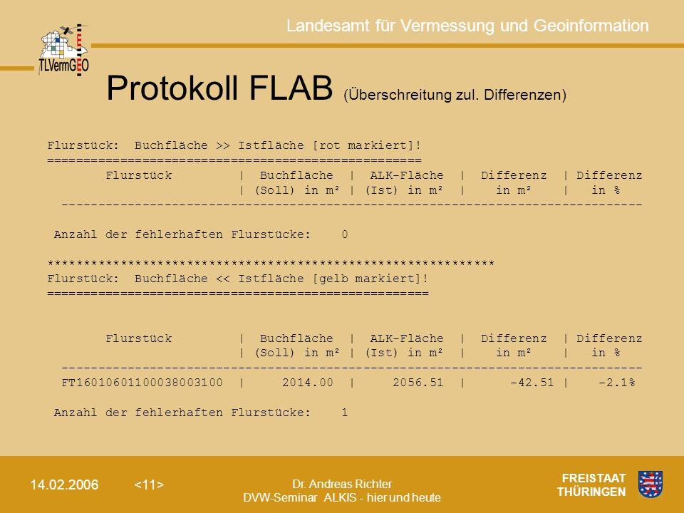 Protokoll FLAB (Überschreitung zul. Differenzen)