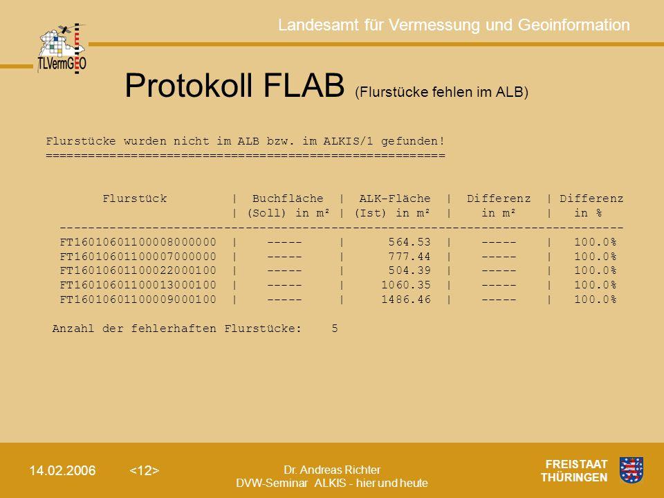 Protokoll FLAB (Flurstücke fehlen im ALB)