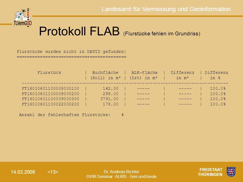 Protokoll FLAB (Flurstücke fehlen im Grundriss)