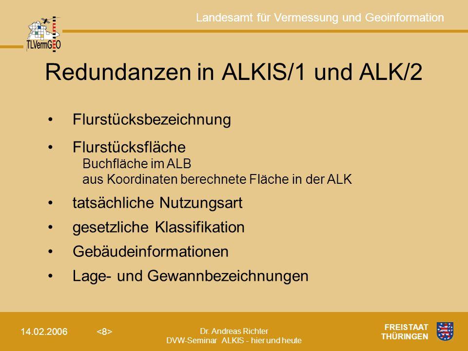 Redundanzen in ALKIS/1 und ALK/2