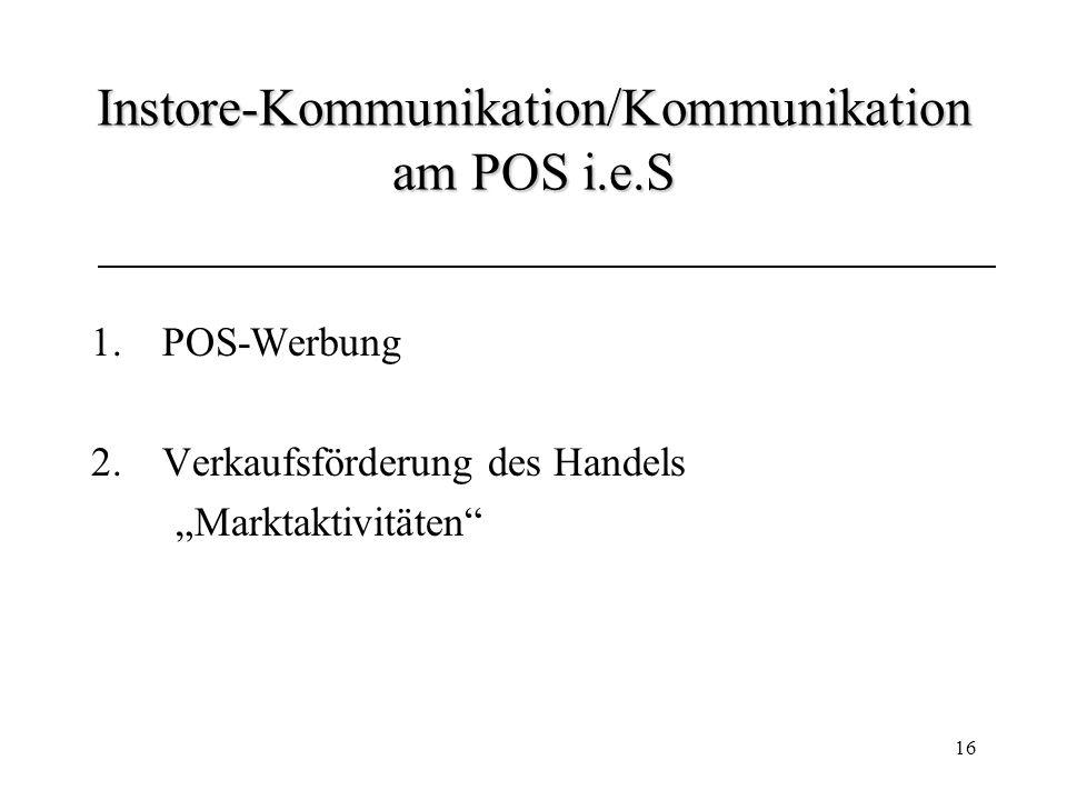 Instore-Kommunikation/Kommunikation am POS i.e.S