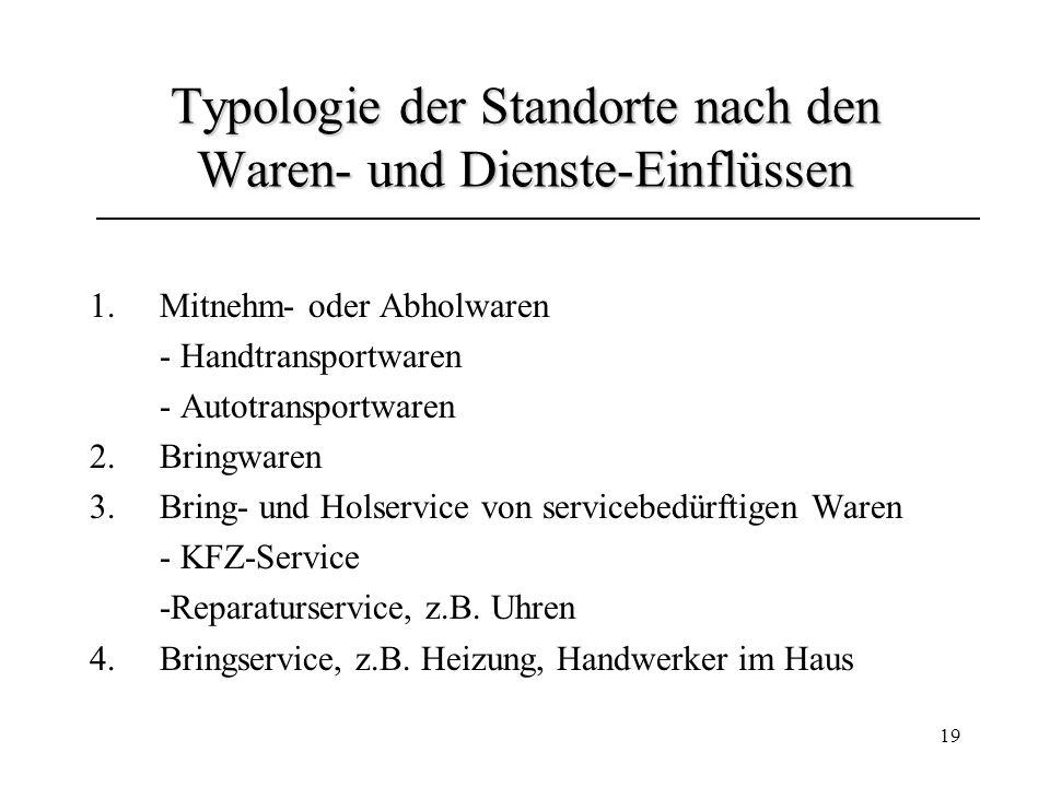 Typologie der Standorte nach den Waren- und Dienste-Einflüssen