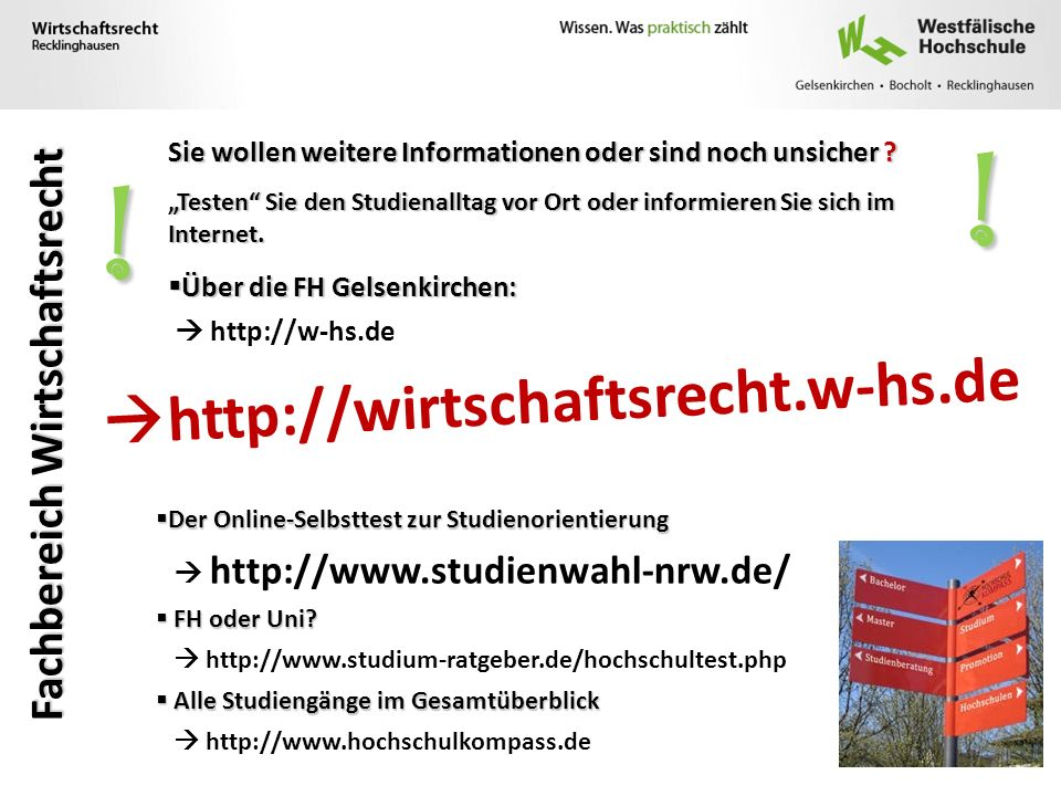 ! ! http://wirtschaftsrecht.w-hs.de Fachbereich Wirtschaftsrecht