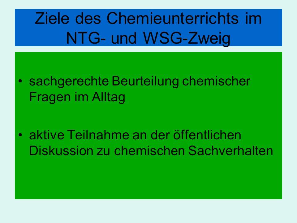 Ziele des Chemieunterrichts im NTG- und WSG-Zweig