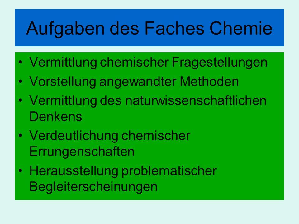 Aufgaben des Faches Chemie