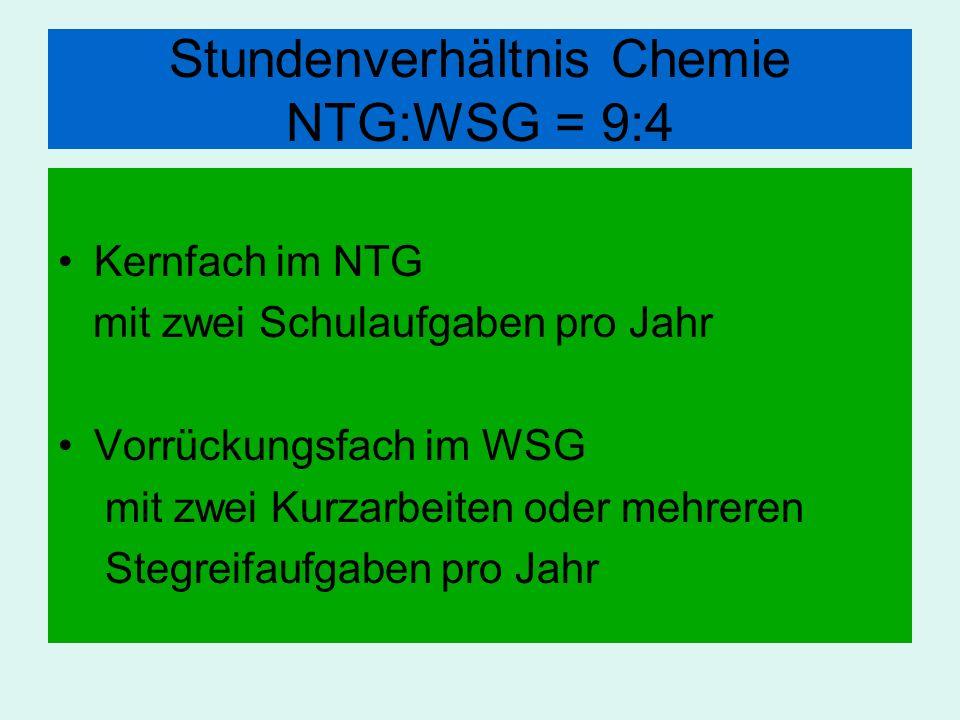 Stundenverhältnis Chemie NTG:WSG = 9:4