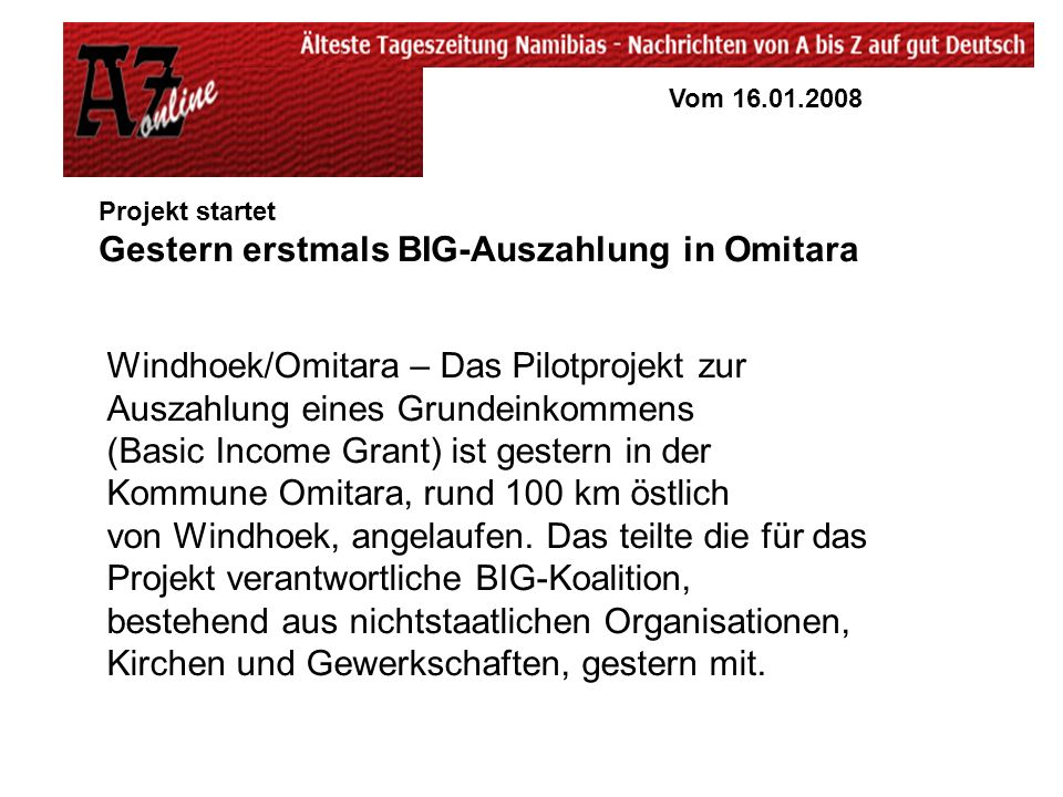Gestern erstmals BIG-Auszahlung in Omitara