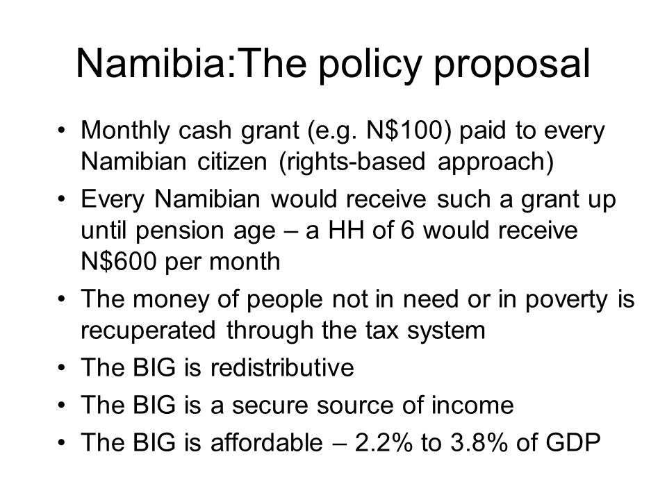 Namibia:The policy proposal