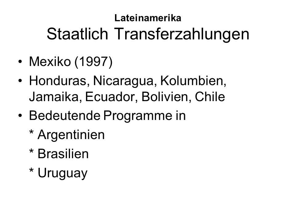 Lateinamerika Staatlich Transferzahlungen