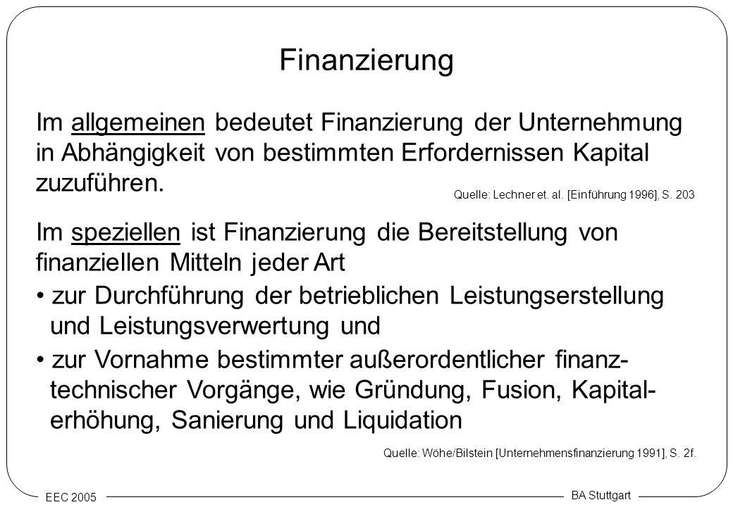 Finanzierung Im allgemeinen bedeutet Finanzierung der Unternehmung in Abhängigkeit von bestimmten Erfordernissen Kapital zuzuführen.