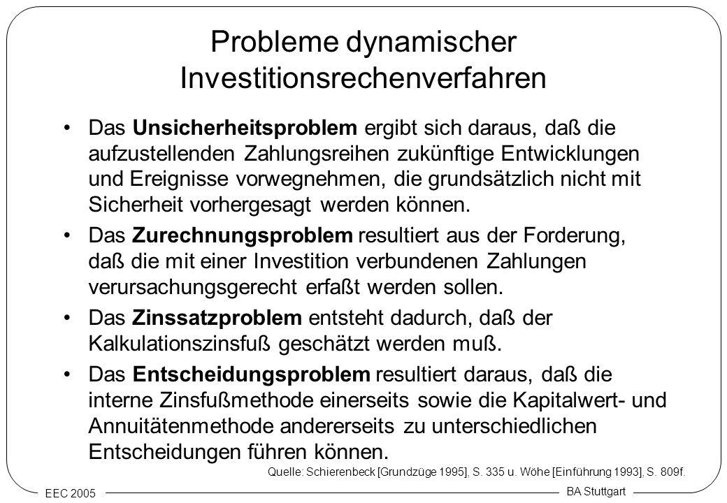 Probleme dynamischer Investitionsrechenverfahren