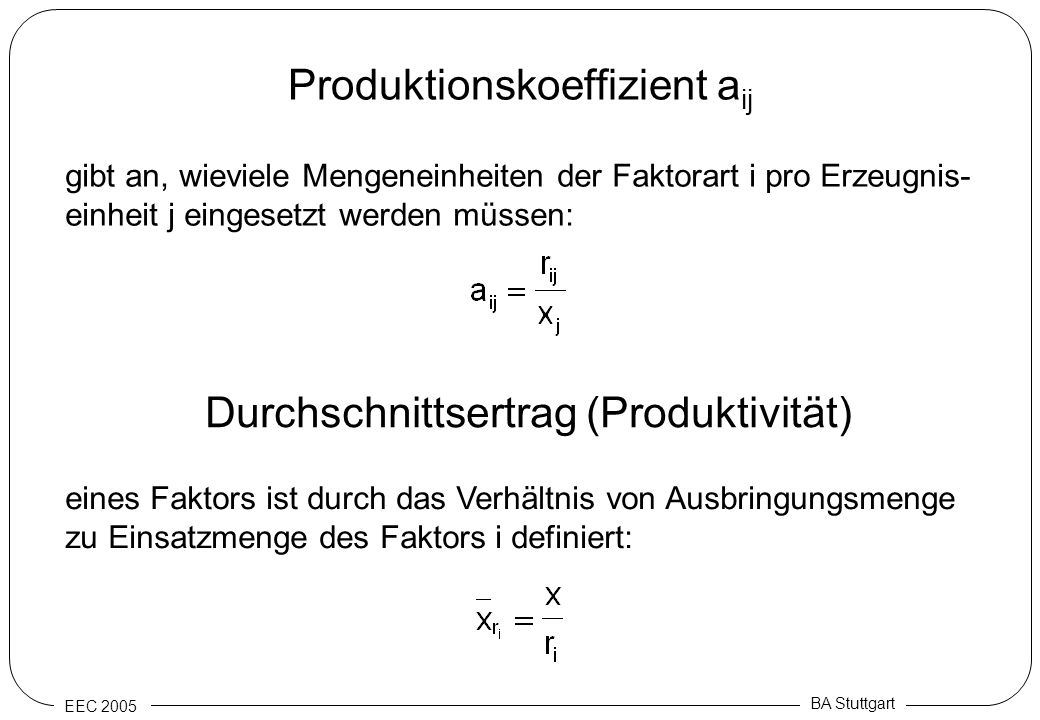 Produktionskoeffizient aij