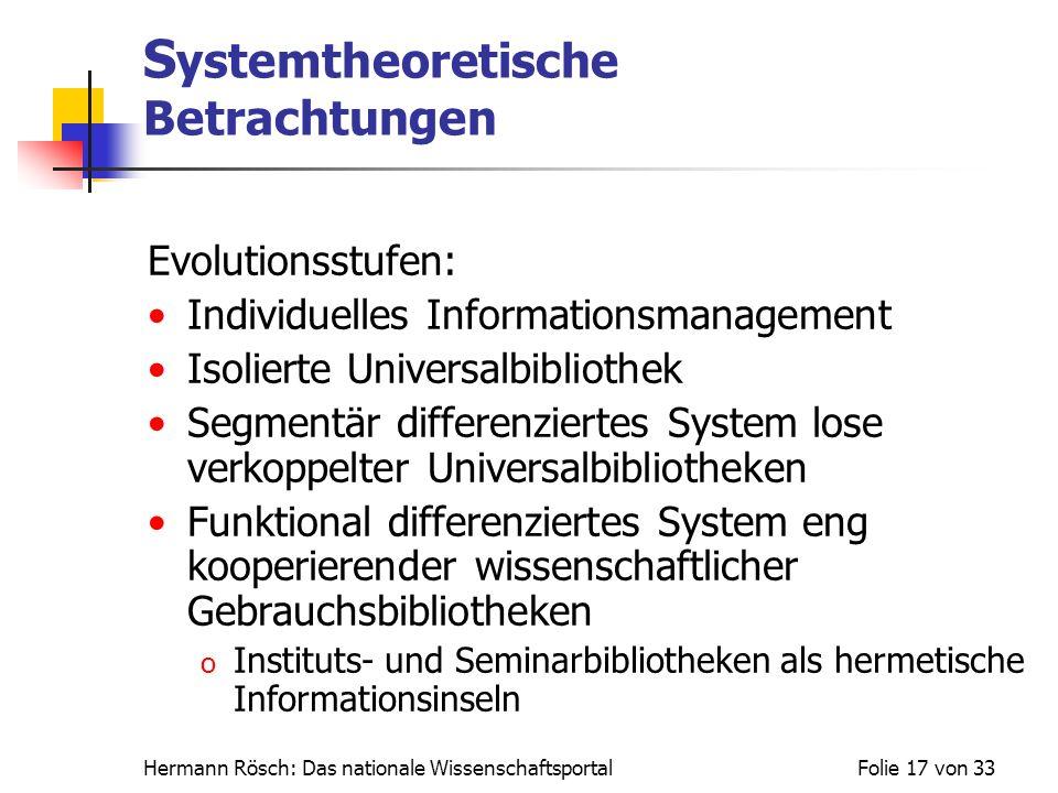 Systemtheoretische Betrachtungen