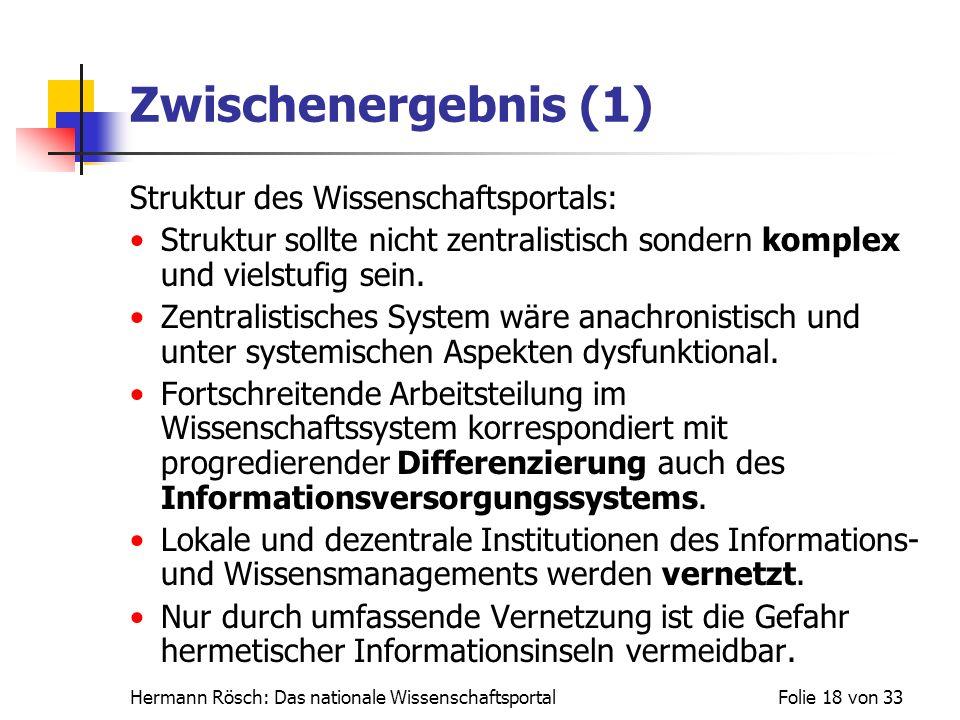 Zwischenergebnis (1) Struktur des Wissenschaftsportals: