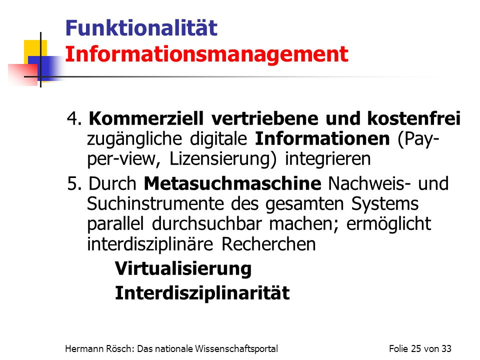 Funktionalität Informationsmanagement