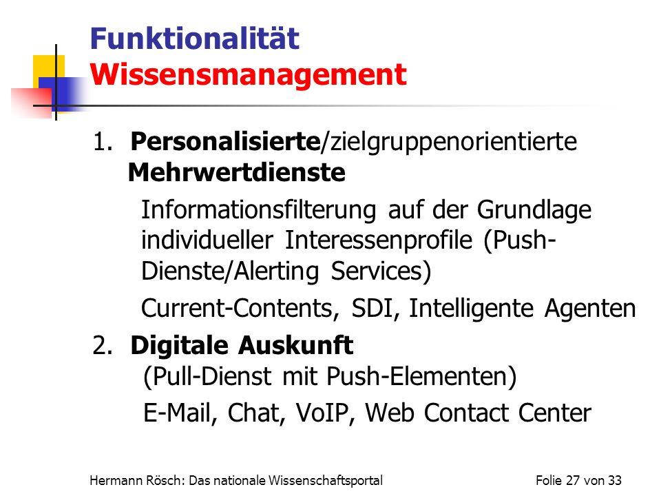 Funktionalität Wissensmanagement