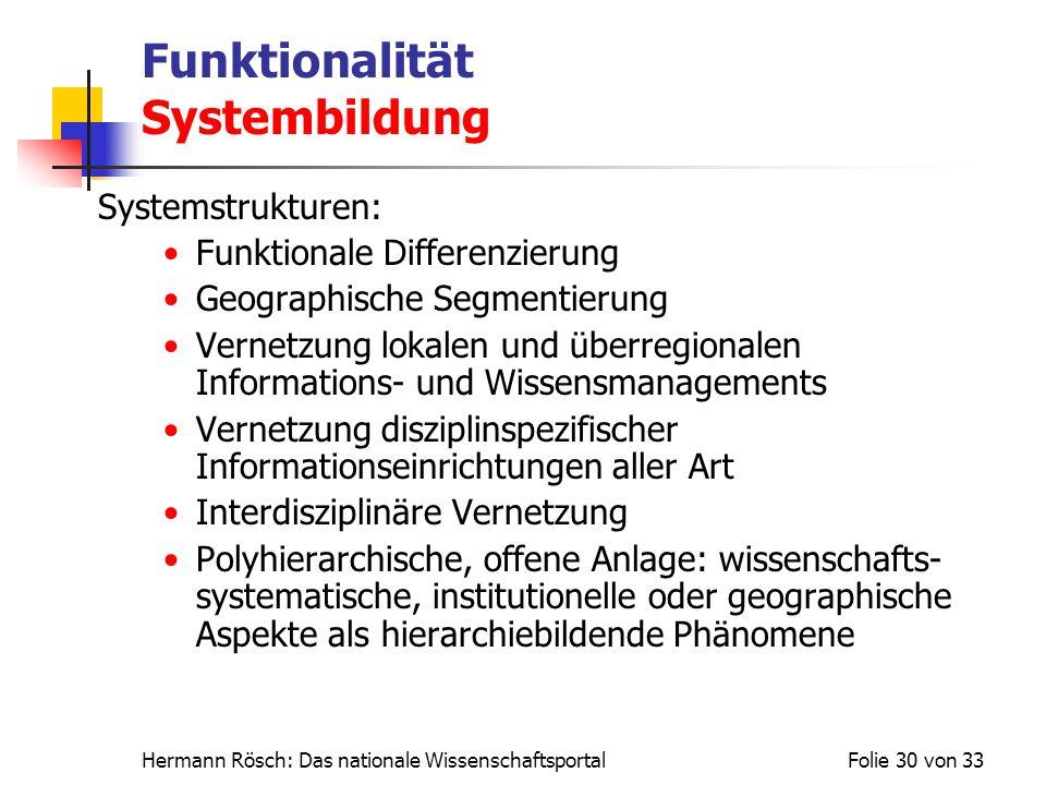 Funktionalität Systembildung