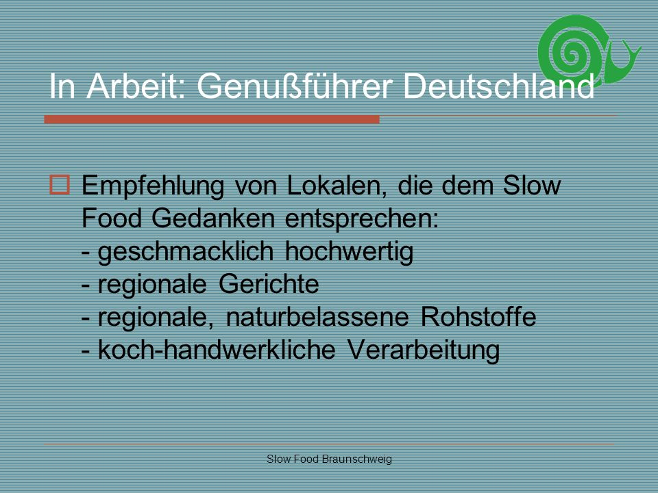 In Arbeit: Genußführer Deutschland