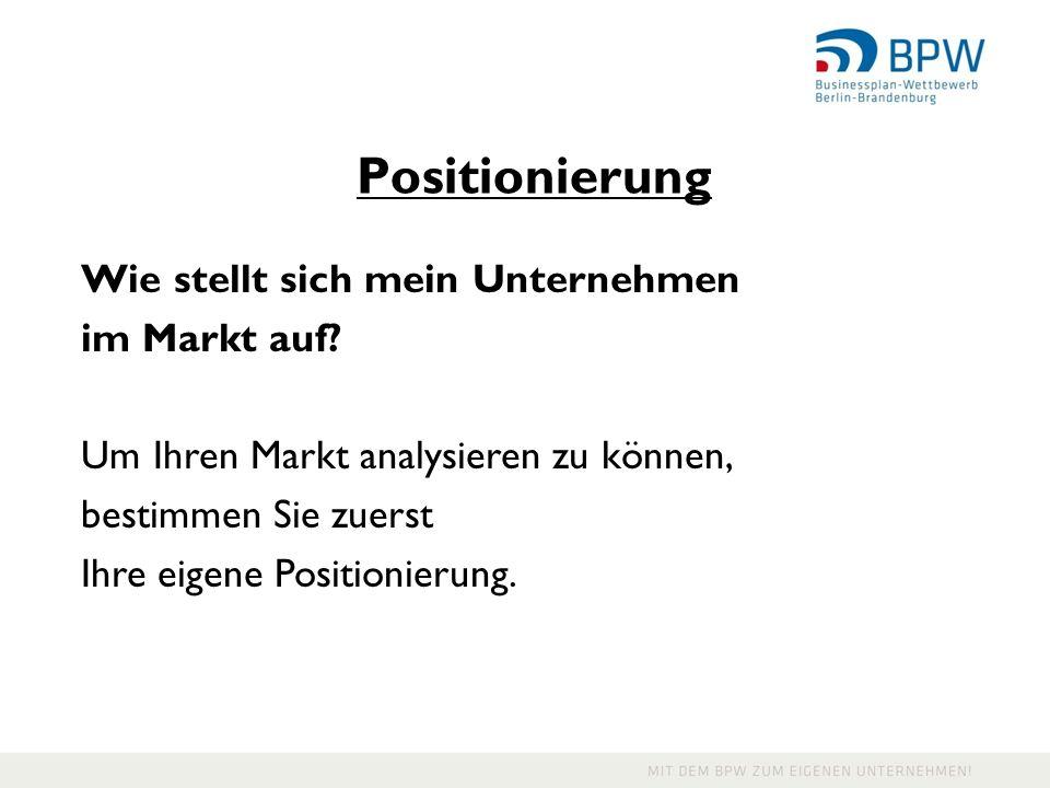 Positionierung Wie stellt sich mein Unternehmen im Markt auf