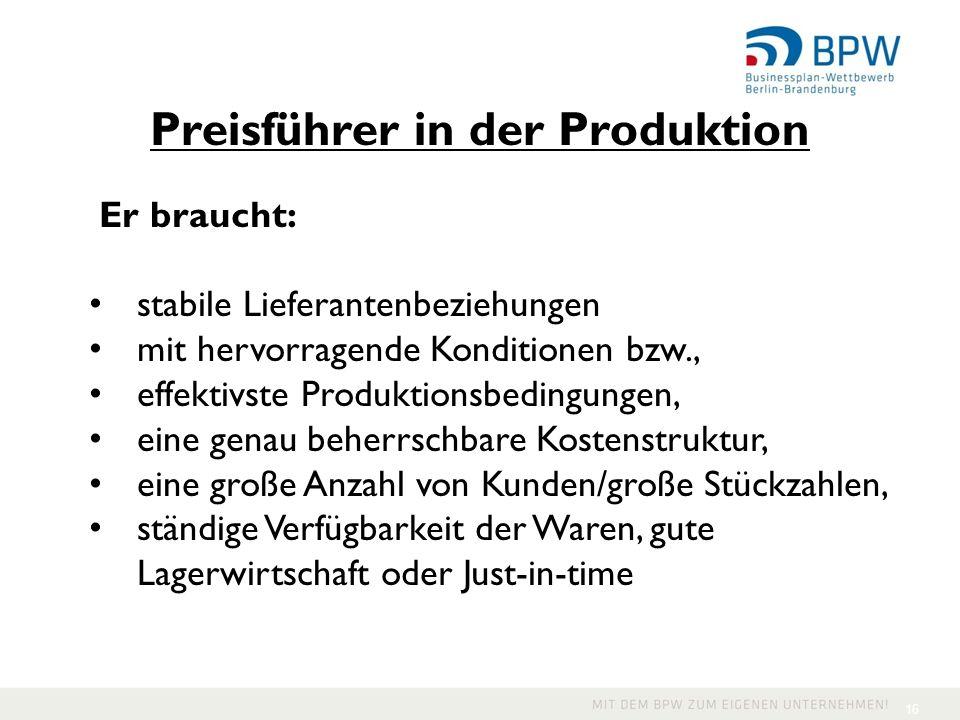Preisführer in der Produktion