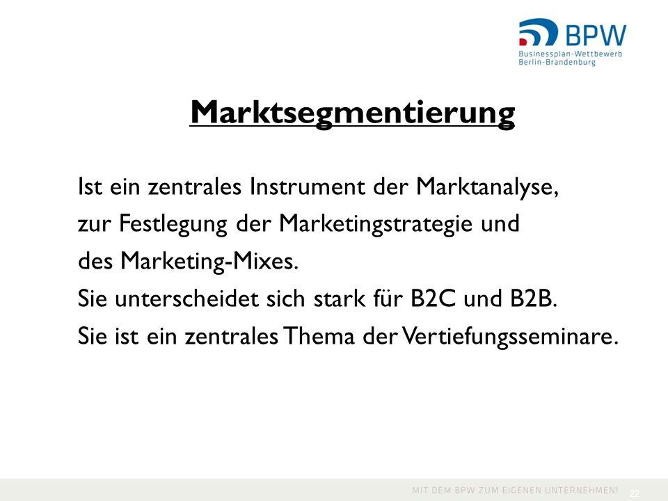 Marktsegmentierung Ist ein zentrales Instrument der Marktanalyse,