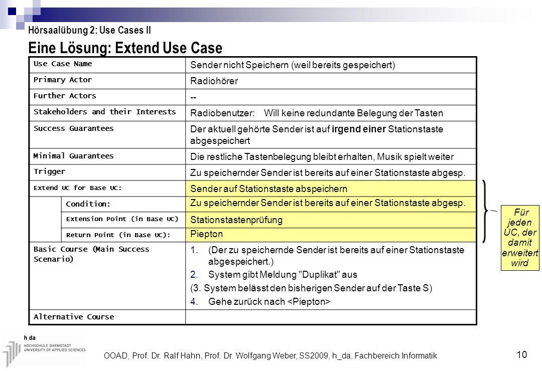 Eine Lösung: Extend Use Case