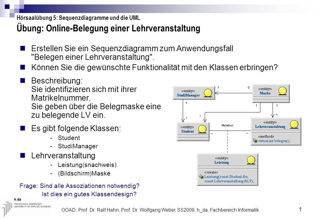 Übung: Online-Belegung einer Lehrveranstaltung