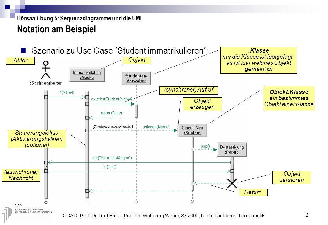 Notation am Beispiel Szenario zu Use Case ´Student immatrikulieren´: