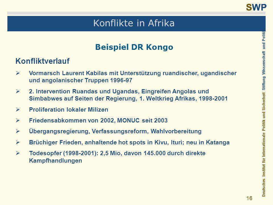 Konflikte in Afrika Beispiel DR Kongo Konfliktverlauf
