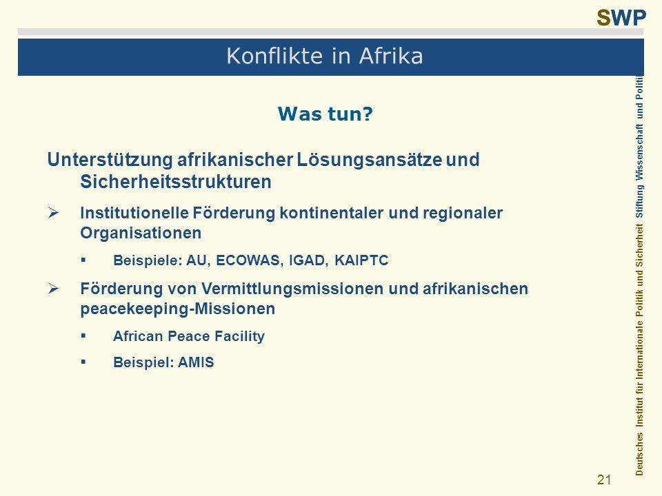 Konflikte in Afrika Was tun