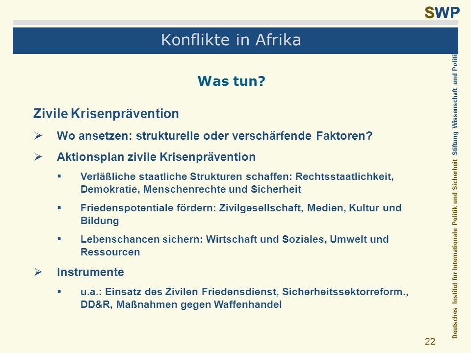Konflikte in Afrika Was tun Zivile Krisenprävention